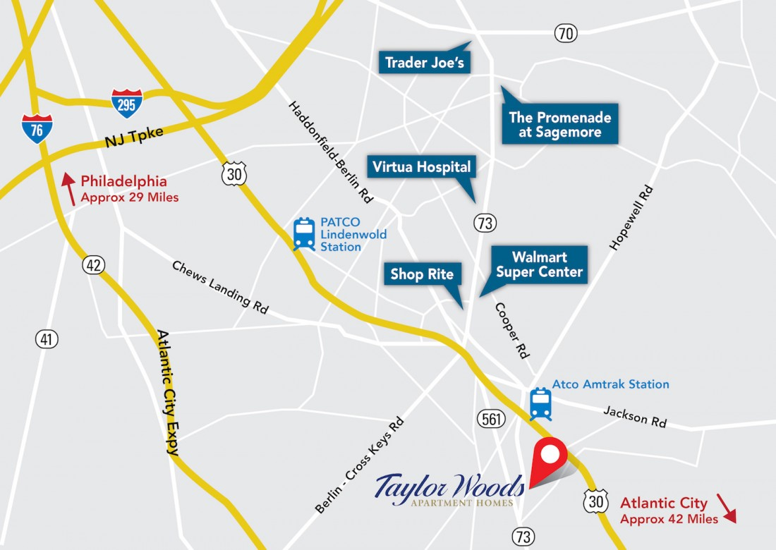 Shopping, Dining, Retail in Berlin, NJ | Taylor Woods Apartments - Taylor_Woods_Area_Map_HighRes