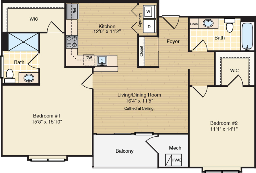 The Dogwood - Split-Style 2 Bed/2 Bath Apartment - Berlin, NJ - dogwooda